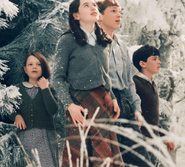 Picture of the Pevensie children arriving in Narnia, from the 2005 movie.