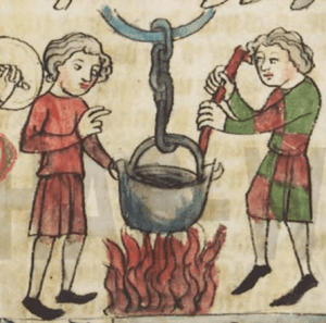 Medieval illustration of a man about to plunge his hand into a pot of boiling water, as another man stirs the pot.