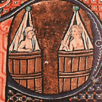 Medieval illustration of two people in curtained, barrel-like baths.