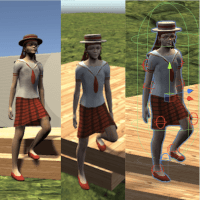 A collage of screenshots from the Unity3D game design engine shows a character in a natural-looking pose, with her feet at different levels.