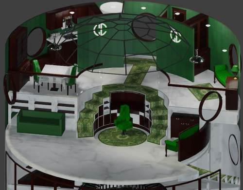 Latest #blender3d progress on a villain's lair. Added more carpets and cabinetry, and started on a powder room. Why not?