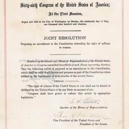 Ratified 100 years ago today, the 19th Amendment, proposed by Illinois Republican James R. Mann, granted women the right to vote.