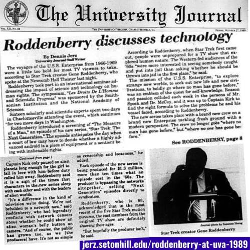 As a student journo, naturally I covered the visit from Star Trek creator Gene Roddenberry in 1989