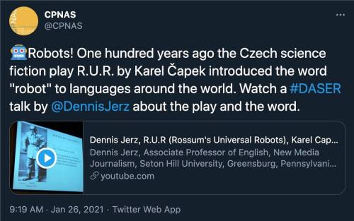 "One hundred years ago, Czech writer Karel Čapek introduced the world to the word ""Robot"""