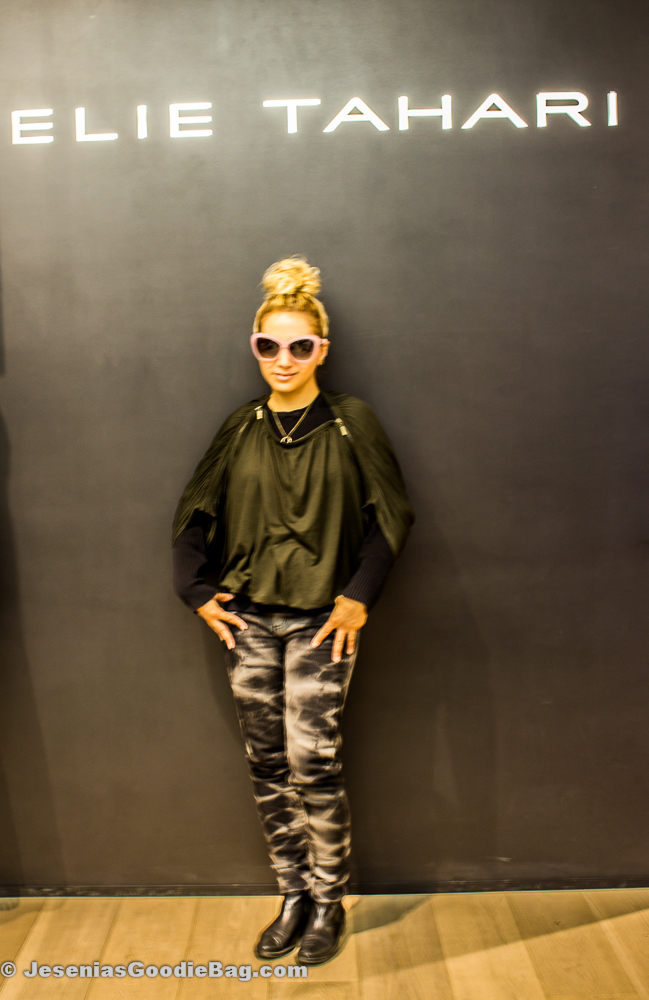 Jesenia (JGB Editor) wearing Elie Tahari Eyewear