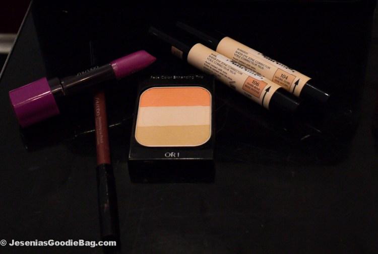 Shiseido: Perfect Rouge (Fuchsia), Smoothing Lip Pencil (Mahogany), Sheer Eye Zone Corrector (Natural Ochre, Warm Beige), Face Color Enhancing Trio (Peach)