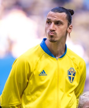 Zlatan Ibrahimovic is focused ahead of the friendly game between Sweden and Wales on June 5th 2016 in Stockholm.