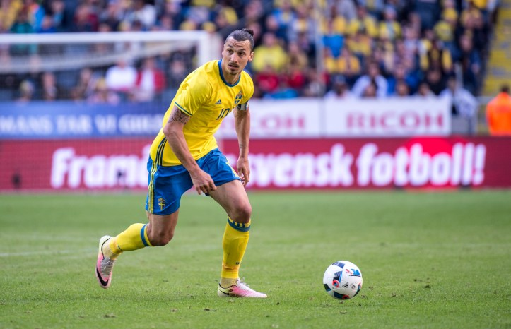 Zlatan Ibrahimovic with the ball during a friendly game between Sweden and Wales on June 5th 2016 in Stockholm.