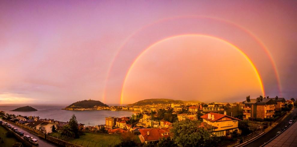 Double Rainbow over San Sebastian, Spain