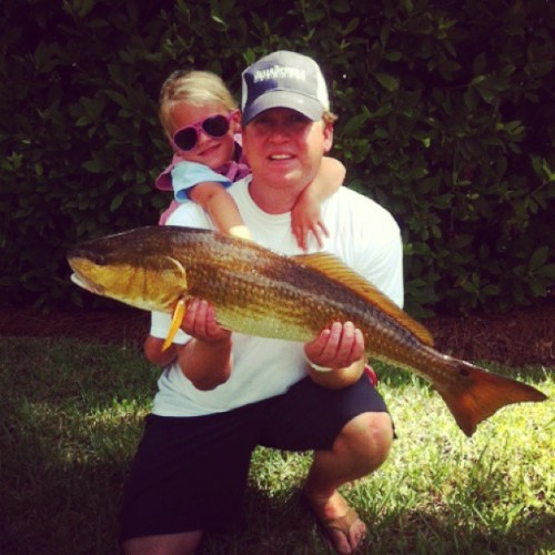 Sydney and Patrick Melton proudly show off Sydney's catch.  #jessebrownsforallseasons #redfish