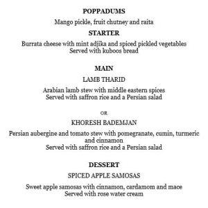 SPICED supper club menu