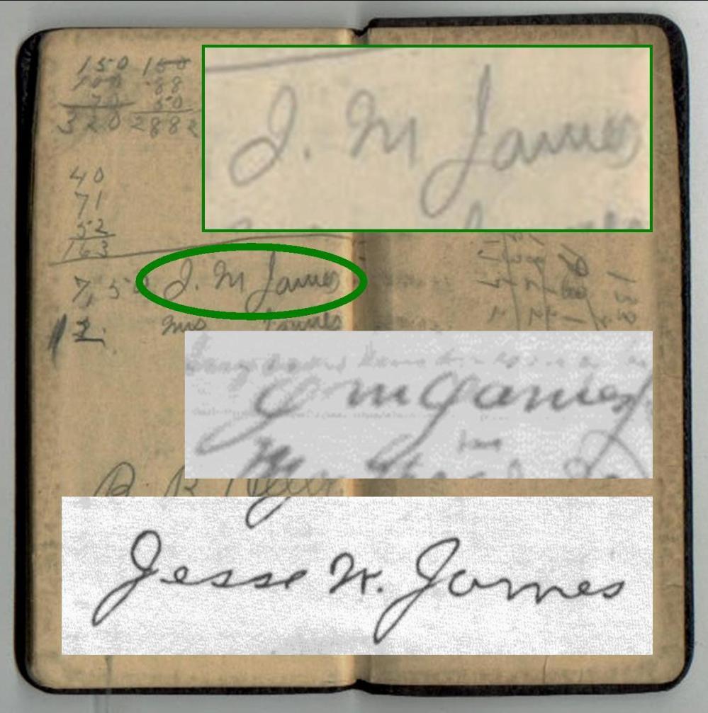 JM James Diary Signature Comparison