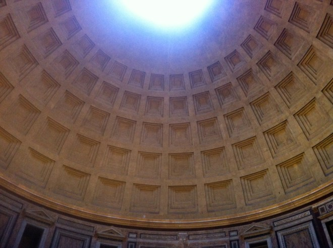 The interior of the dome of the Pantheon in Rome. Built without modern technology in A.D. 120.