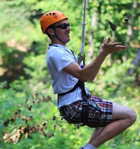 Juggling Down a Zipline
