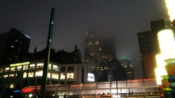 Foggy night in downtown Charlotte