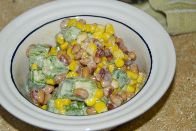 Okra, Corn and Black Eyed Pea Salad
