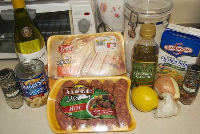 Chicken With Sausage White Wine And Artichokes