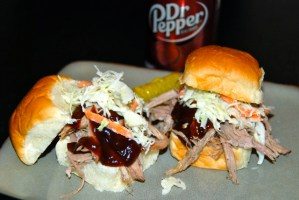 Crockpot Dr. Pepper Pulled Pork Sliders with Light & Tangy Slaw