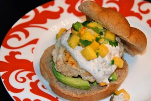 Halibut Burgers with Chipotle Cream and Peach Salsa