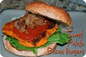 Sweet Potato Pecan Burgers with Caramelized Onions