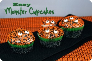 Easy Monster Cupcakes {Happy Halloween!}
