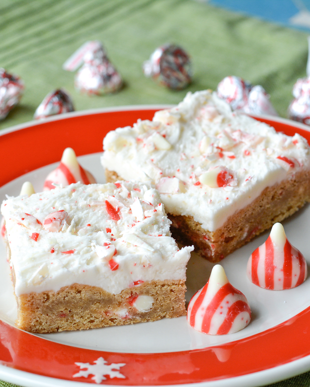 Frosted Candy Cane Blondies