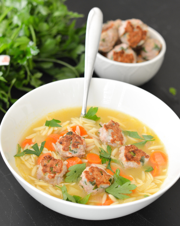 Lemon Orzo Soup with Mini Turkey Meatballs