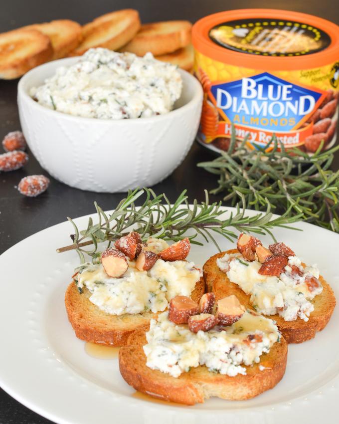 Rosemary Almond Goat Cheese Crostini