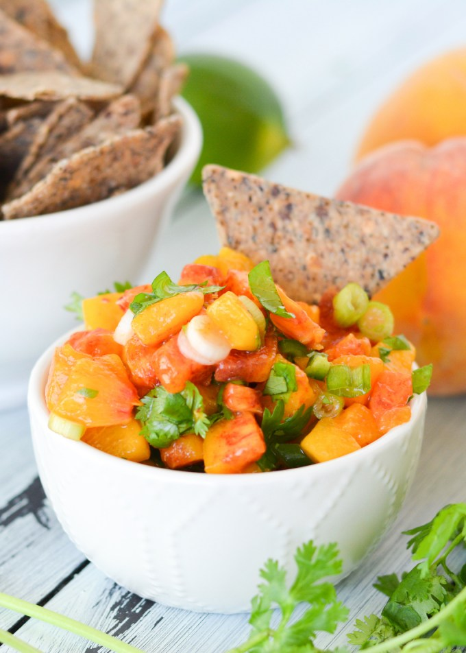 This spicy, fruity salsa is packed with juicy ripe peaches and fresh jalapenos. It's perfect for topping grilled chicken or fish, or for scooping up with tortilla chips!