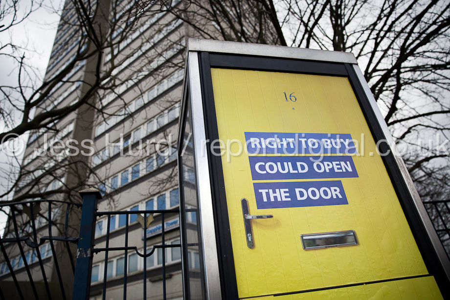 Right to Buy government advert encouraging council tenants to buy their homes on a telephone box. Sapphire Tower, due for demolition. Aston, Birmingham. © Jess Hurd/reportdigital.co.uk