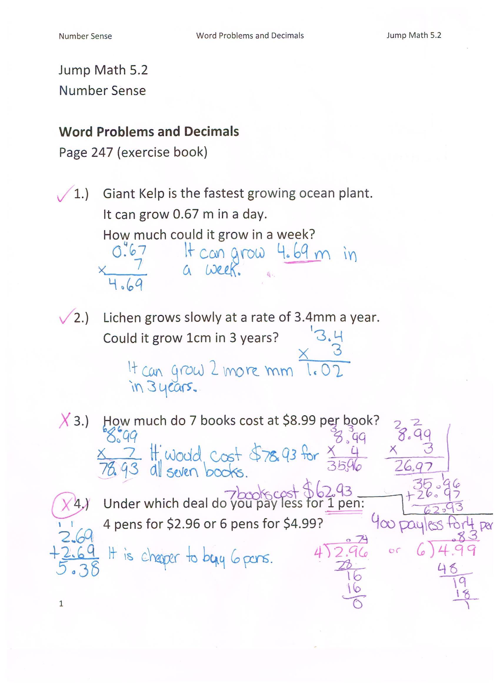 Jump Math 5 2 Number Sense Word Problems And Decimals