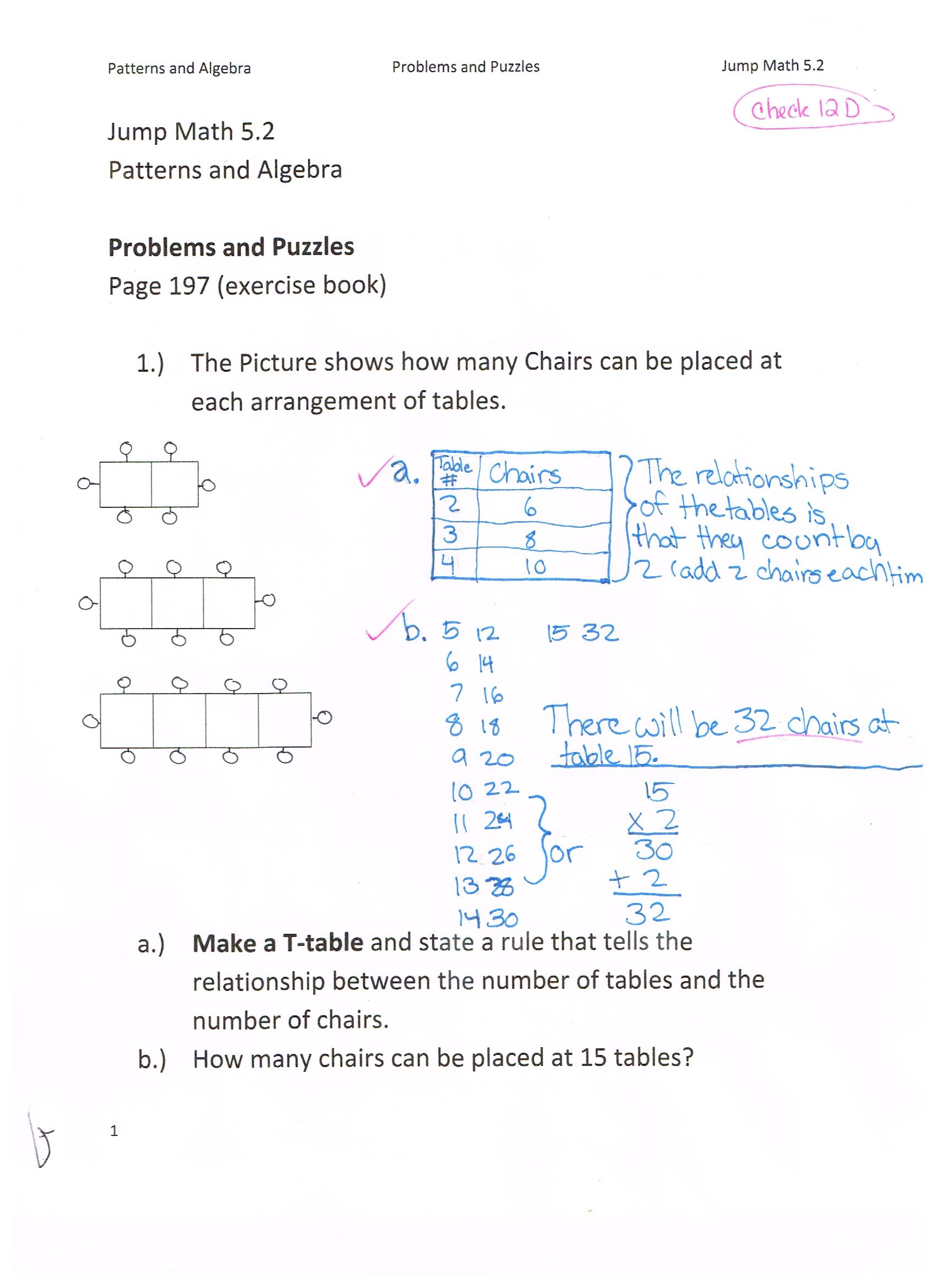 Jump Math 5 2 Patterns Amp Algebra Word Problems Page