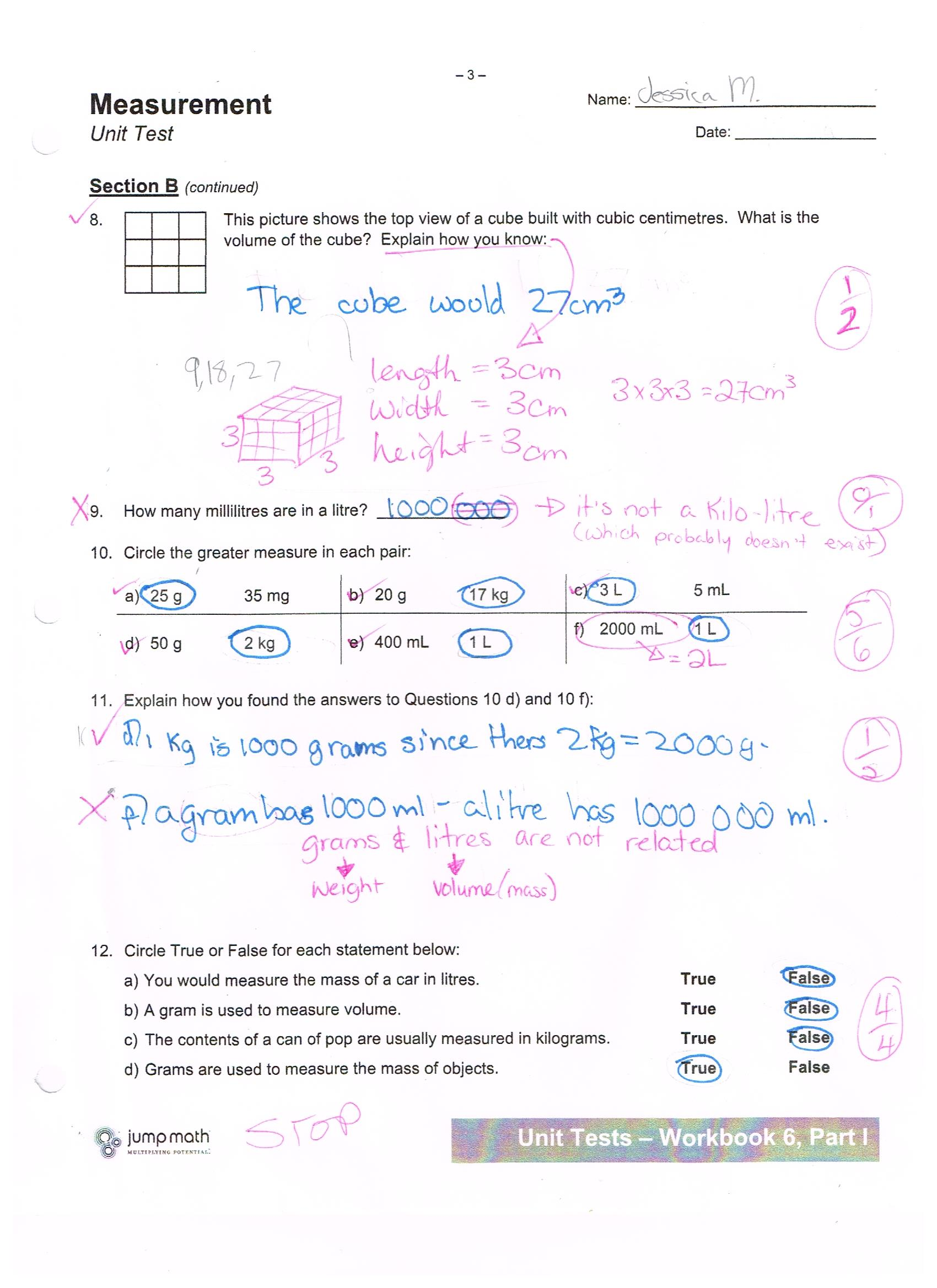 Jump Math 6 1 Measurement Unit Test