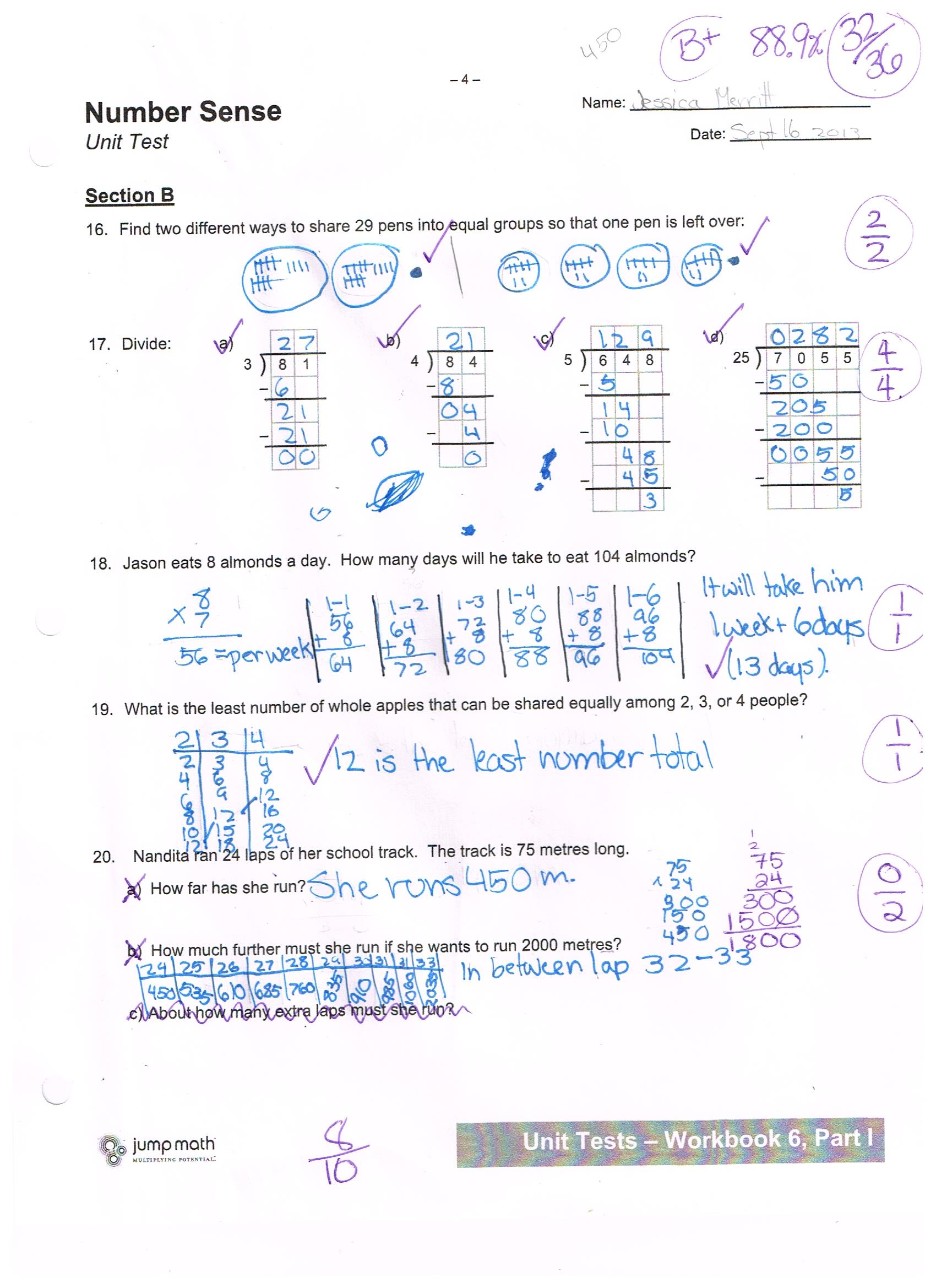 Jump Math 6 1 Number Sense Unit Test
