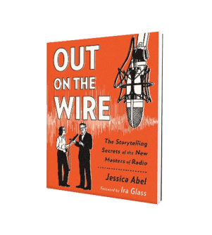 Ira Glass, Jessica Abel, and a giant microphone on the cover of Out on the Wire By Jessica Abel