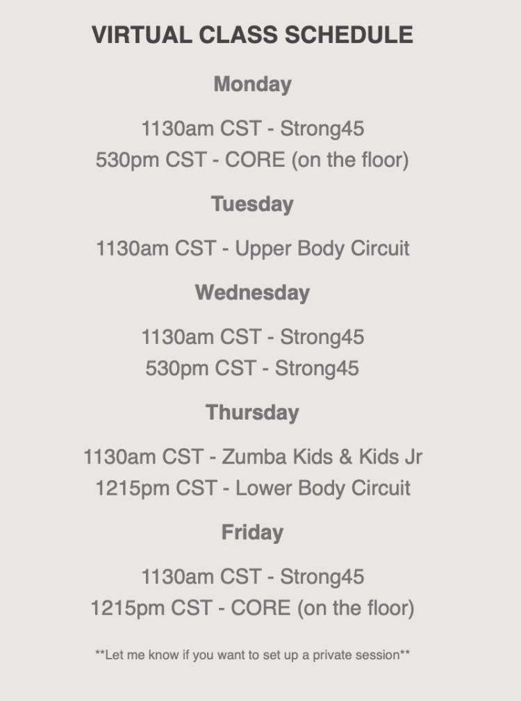 Jessica Corvo Online Class Schedule