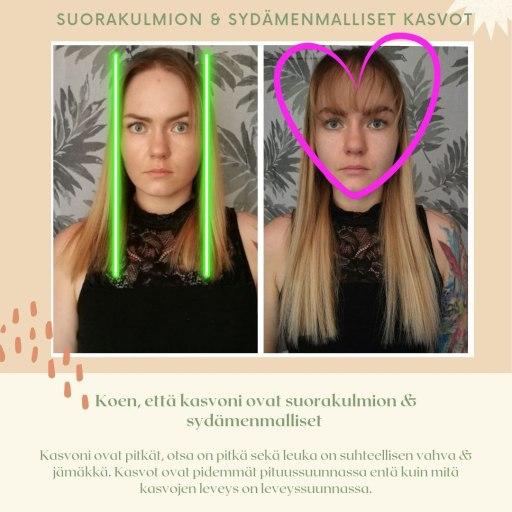 Hiukset kasvojen mallin mukaan: -suorakulmion & sydämenmalliset kasvot