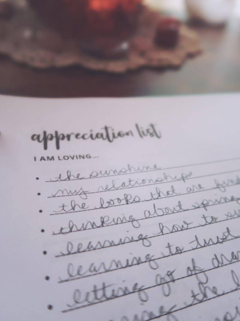 Manifestation journal prompt appreciation
