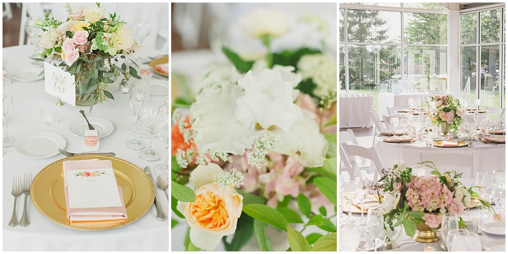 Blush and gold wedding tablescape with watercolor menus   Ritz Charles Garden Pavilion Wedding by Stacy Able Photography & Jessica Dum Wedding Coordination