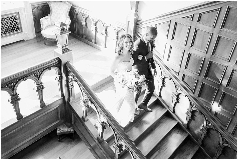 Bride + groom staircase entrance   Navy and Gold Wedding at Laurel Hall with Ivan & Louise Photography + Jessica Dum Wedding Coordination