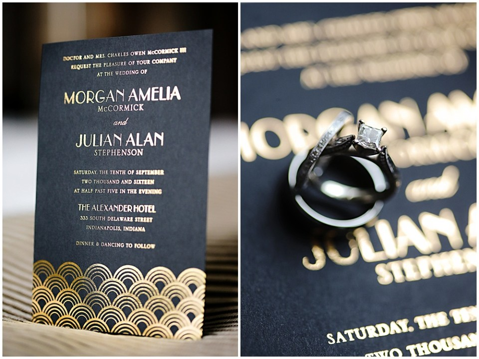 black and gold wedding invitation, the alexander hotel wedding, Morgan + Julian