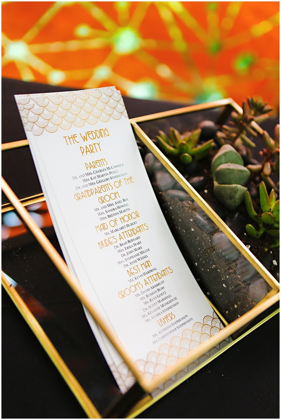 gold modern wedding program, the alexander hotel wedding, Morgan + Julian