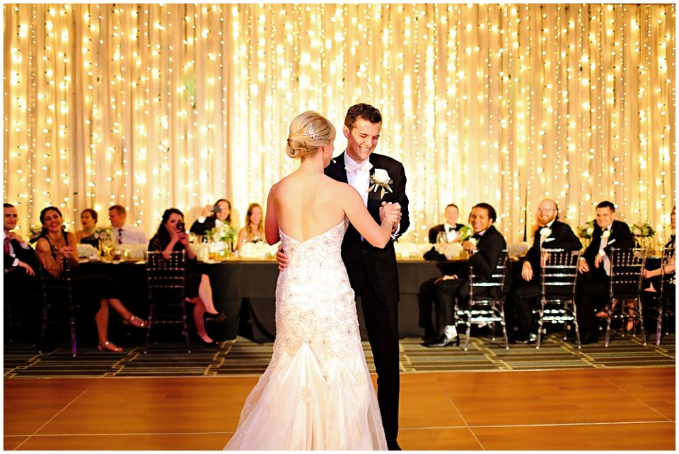 black and gold wedding, first dance, the alexander hotel wedding, Morgan + Julian