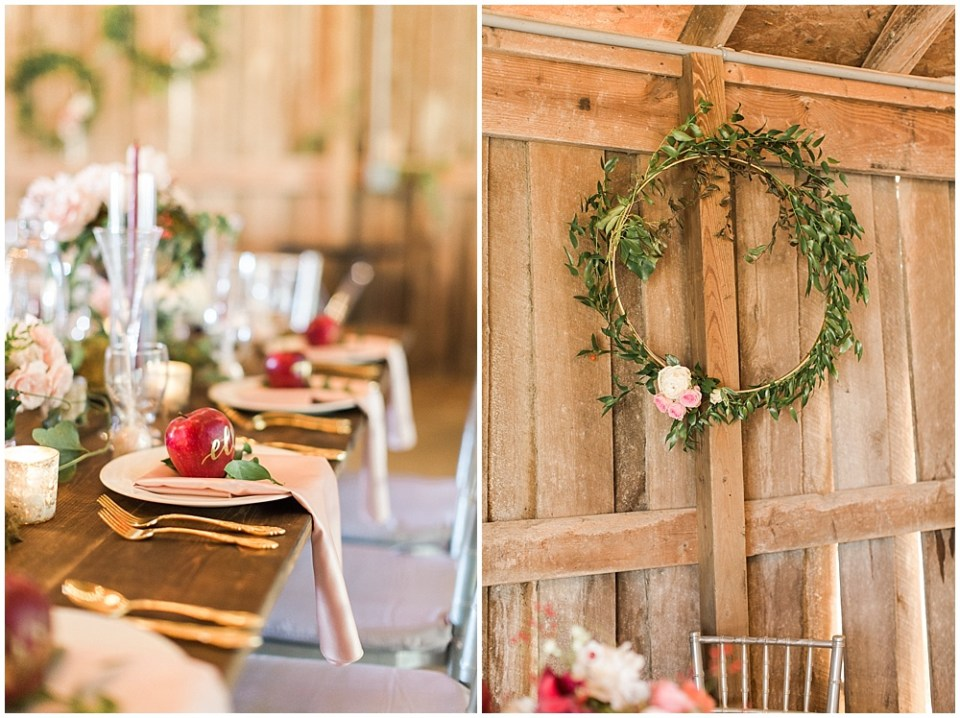 apples +greenery wreath, barn in zionsville wedding, ellie + tyler, ivan and louise images, jessica dum wedding coordination
