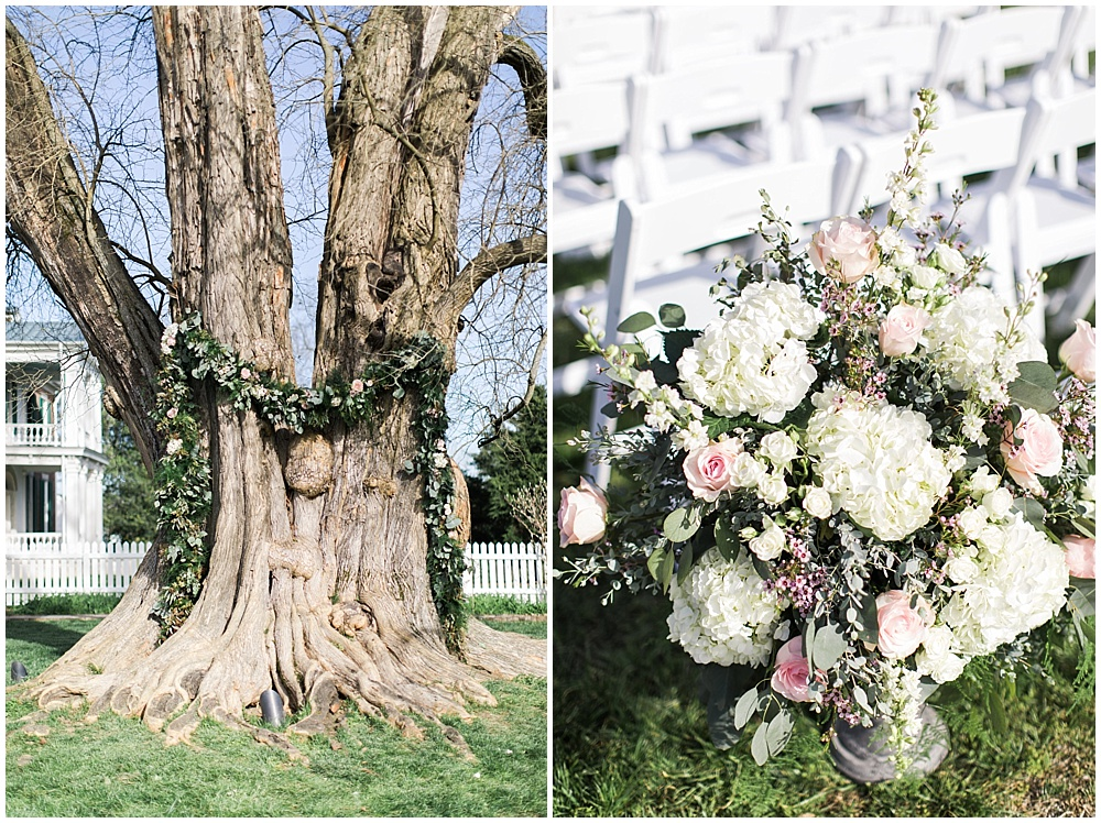 tree with draped garland ceremony space, navy and pink southern wedding   Ivan & Louise Images and Jessica Dum Wedding Coordination