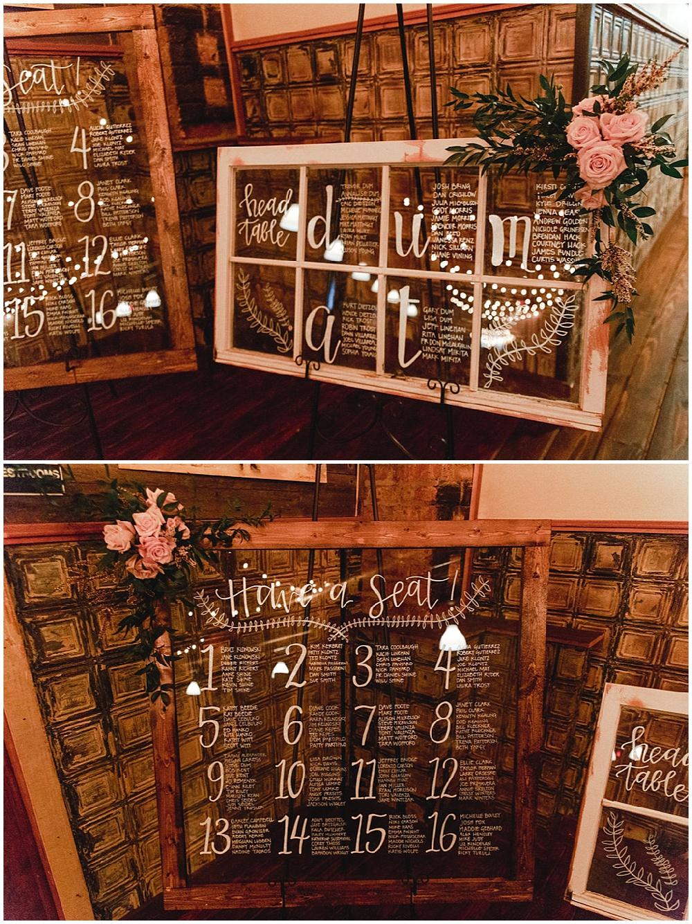 window pane table seating charts   Chicago urban rustic wedding  Sandra Armenteros Photography   Jessica Dum Wedding Coordination