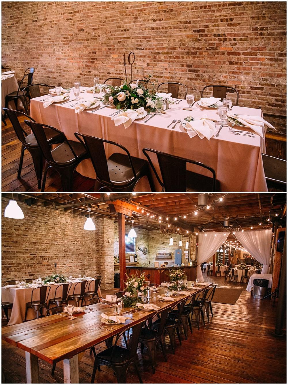 blush reception table with greenery   Chicago urban rustic wedding  Sandra Armenteros Photography   Jessica Dum Wedding Coordination