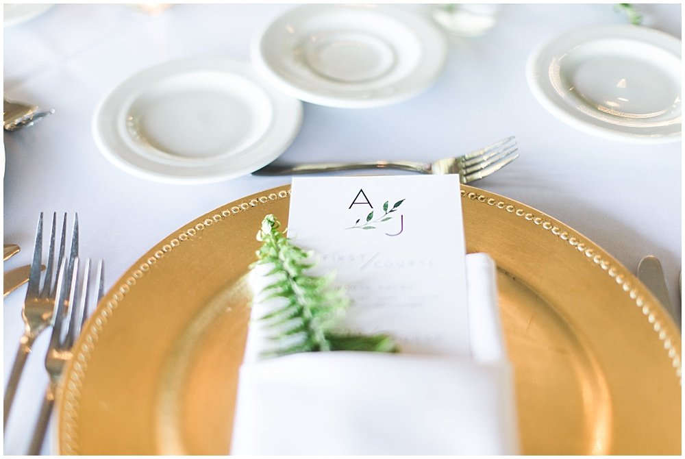 gold and green place setting, Spring floral + gold wedding | Ivan & Louise Images | Jessica Dum Wedding Coordination