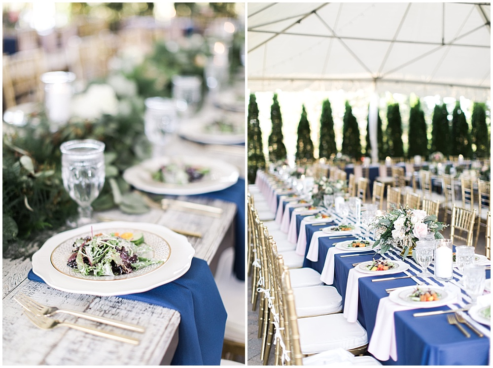 Navy and pink tablescape with striped runner, navy and pink southern wedding   Ivan & Louise Images and Jessica Dum Wedding Coordination