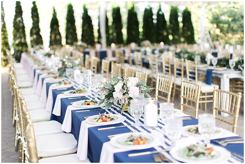 Navy, pink and gold wedding tablescape, navy and pink southern wedding   Ivan & Louise Images and Jessica Dum Wedding Coordination